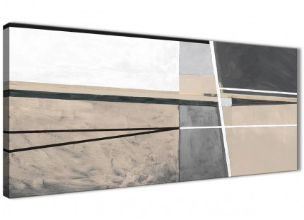 Beige Cream Grey Painting Bedroom Canvas Pictures Accessories - Abstract 1394 - 120cm Print