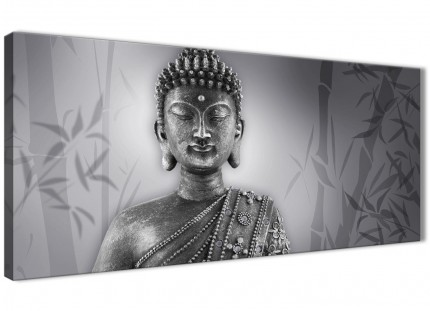 Black White Buddha Bedroom Canvas Pictures Accessories - 1373 - 120cm Print