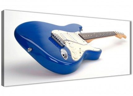 Blue White Fender Electric Guitar - Living Room Canvas Wall Art Accessories - 1447 - 120cm Print