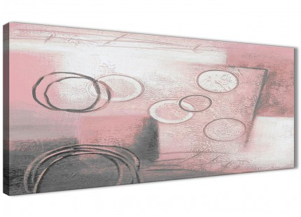 Blush Pink Grey Painting Living Room Canvas Wall Art Accessories - Abstract 1433 - 120cm Print