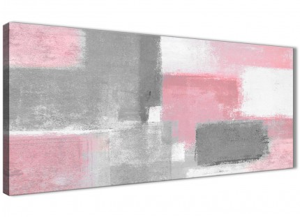 Blush Pink Grey Painting Living Room Canvas Pictures Accessories - Abstract 1378 - 120cm Print