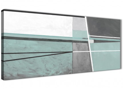 Duck Egg Blue Grey Painting Living Room Canvas Wall Art Accessories - Abstract 1396 - 120cm Print
