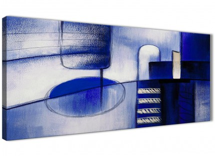 Indigo Blue Cream Painting Bedroom Canvas Wall Art Accessories - Abstract 1418 - 120cm Print