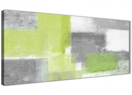 Lime Green Grey Living Room Canvas Pictures Accessories - Abstract 1369 - 120cm Print