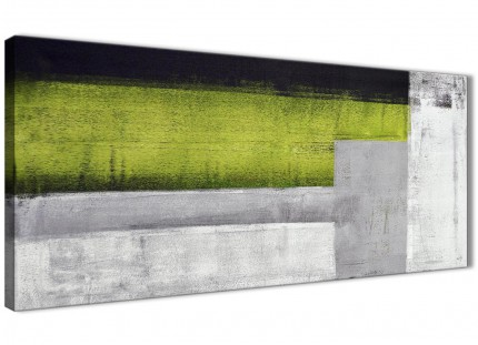 Lime Green Grey Painting Living Room Canvas Wall Art Accessories - Abstract 1424 - 120cm Print
