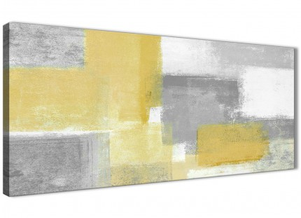 Mustard Yellow Grey Living Room Canvas Wall Art Accessories - Abstract 1367 - 120cm Print