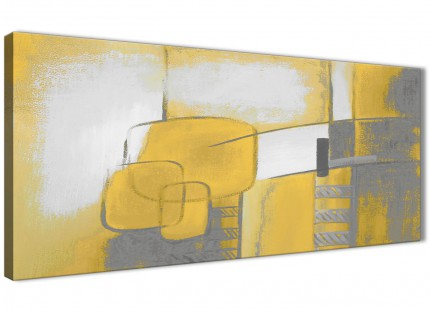 Mustard Yellow Grey Painting Bedroom Canvas Wall Art Accessories - Abstract 1419 - 120cm Print