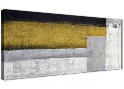 Mustard Yellow Grey Painting Living Room Canvas Wall Art Accessories - Abstract 1425 - 120cm Print
