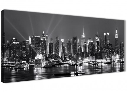 New York Skyline Canvas Wall Art - Cityscape - Black White and Grey 1435 - 120cm Wide Print