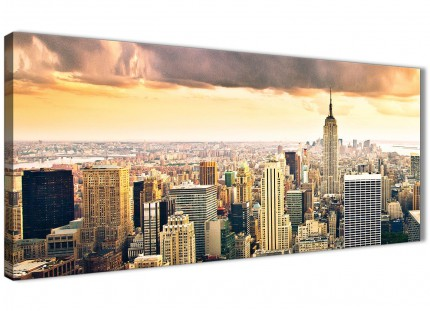 New York Manhattan Skyline - Canvas Art Pictures - Landscape - 1201 - 120cm Wide Print