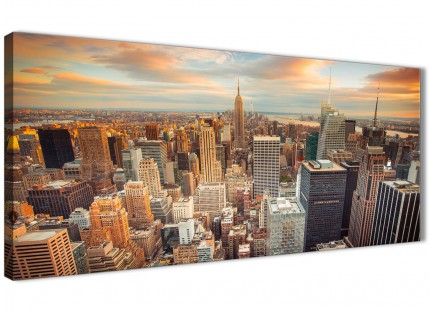 New York Skyline Sunset Manhattan - Canvas Art Pictures - Cityscape - 1202 - 120cm Wide Print
