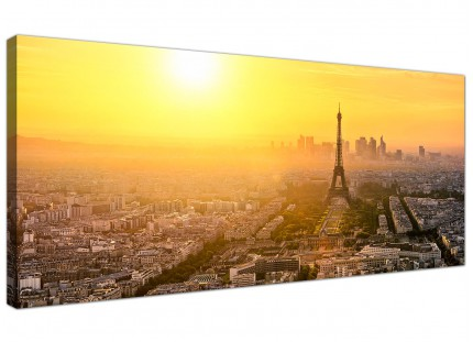 Large Paris Sunset Skyline Eiffel Tower Yellow Cityscape Canvas - 120cm - 1153