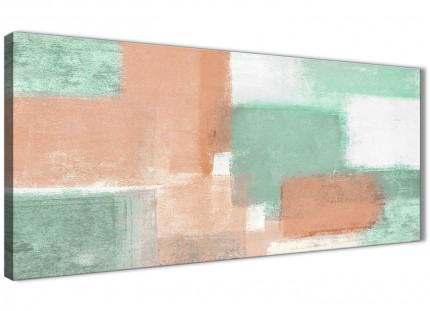 Peach Mint Green Living Room Canvas Pictures Accessories - Abstract 1375 - 120cm Print
