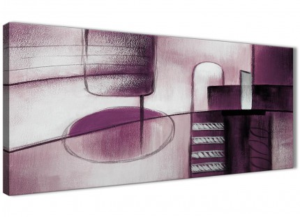 Plum Grey Painting Bedroom Canvas Wall Art Accessories - Abstract 1420 - 120cm Print
