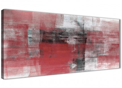 Red Black White Painting Bedroom Canvas Pictures Accessories - Abstract 1397 - 120cm Print