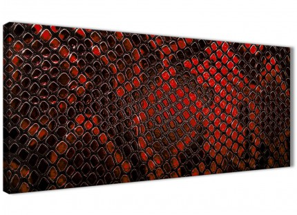 Red Snakeskin Animal Print Living Room Canvas Wall Art Accessories - Abstract 1476 - 120cm Print