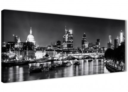 River Thames London Skyline Canvas Art Pictures - Cityscape - 1430 Black White Grey - 120cm Wide Print