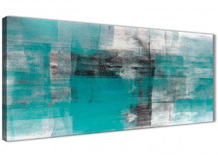 Teal Black White Painting Bedroom Canvas Wall Art Accessories - Abstract 1399 - 120cm Print
