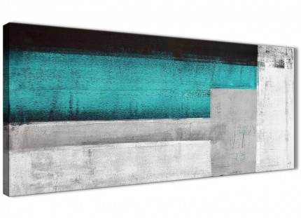 Teal Turquoise Grey Painting Living Room Canvas Wall Art Accessories - Abstract 1429 - 120cm Print