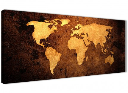 Vintage Old World Map - Brown Cream Canvas - Bedroom Canvas Wall Art Accessories - Abstract 1188 - 120cm Print