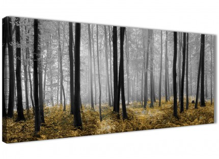 Yellow and Grey Forest Woodland Trees Living Room Canvas Wall Art Accessories - 1384 - 120cm Print
