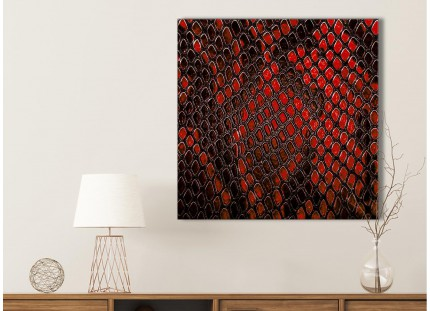 Red Snakeskin Animal Print Living Room Canvas Wall Art Accessories - Abstract Print