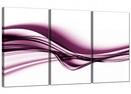 Modern Plum Purple White Wave Abstract Canvas - 3 Part - 125cm - 3032