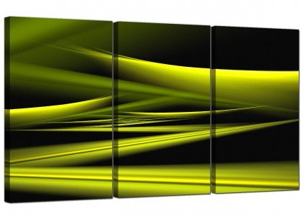 Modern Lime Green & Black Waves Abstract Canvas - 3 Part - 125cm - 3047