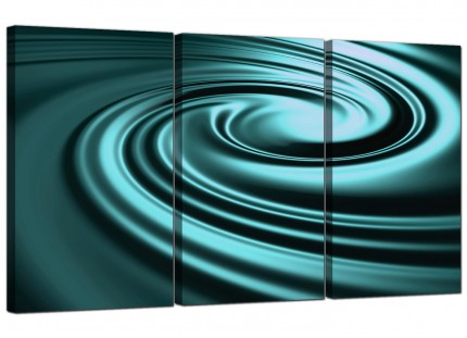 Modern Teal Coloured Swirl Design Abstract Canvas - Set of 3 - 125cm - 3060