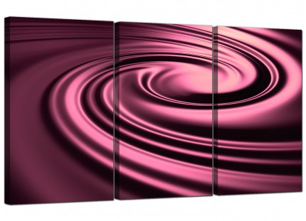 Modern Plum Coloured Swirl Design Abstract Canvas - Set of 3 - 125cm - 3059