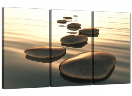 Modern Brown Zen Stepping Stones Lake Landscape Canvas - Set of 3 - 125cm - 3046