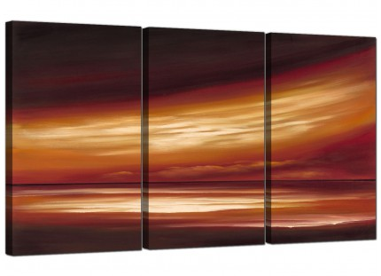 Modern Brown Cream Abstract Sunset Landscape Canvas - Set of 3 - 125cm - 3147