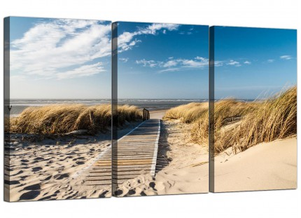 Modern Pathway to the Ocean - Landscape Beach Canvas - 3 Set - 125cm - 3197