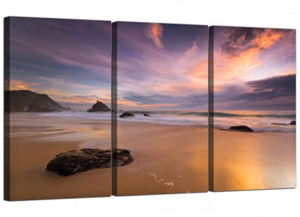 Modern Panoramic Landscape Sunset Beach Canvas - Set of 3 - 125cm - 3198