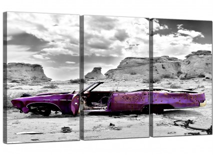 Modern Abstract Purple Grey Car Desert Landscape Canvas - 3 Piece - 125cm - 3144