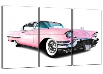 Modern Pink Cadillac American Classic Car Canvas - 3 Set - 125cm - 3040
