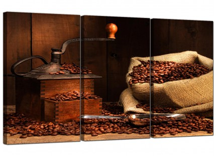Modern Brown Coffee Beans Grinder Kitchen Canvas - 3 Panel - 125cm - 3062