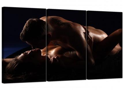 Modern Bedroom Romantic Couple Nude Erotica Canvas - 3 Piece - 125cm - 3133