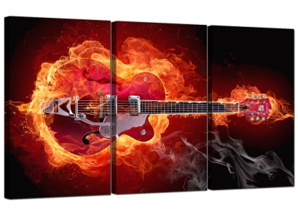Modern Flaming Red Electric Guitar Music Canvas - 3 Panel - 125cm - 3065