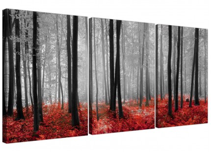 Modern Black White Red Grey Forest Woodland Trees Canvas - 3 Part - 125cm - 3236