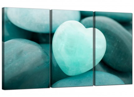 Modern Teal Green Blue Love Heart Abstract Canvas - Set of 3 - 125cm - 3080