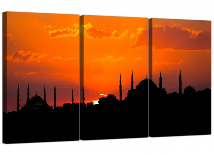 Istanbul Skyline Sunset - Blue Mosque Landscape Canvas - 3 Panel - 125cm - 3205