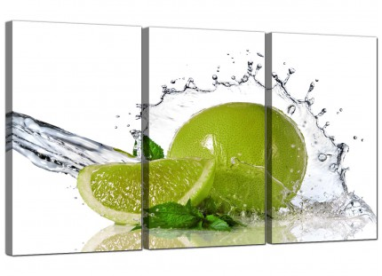 Modern Lime Green White Fruit Splash Kitchen Canvas - Set of 3 - 125cm - 3057