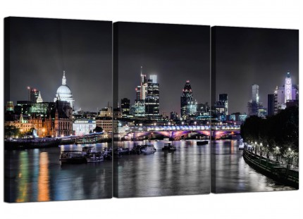 Modern London Skyline at Night City Canvas - Set of 3 - 125cm - 3211