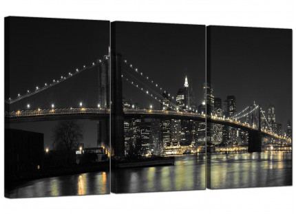 Modern Black White NYC Brooklyn Bridge Cityscape Canvas - 3 Set - 125cm - 3075