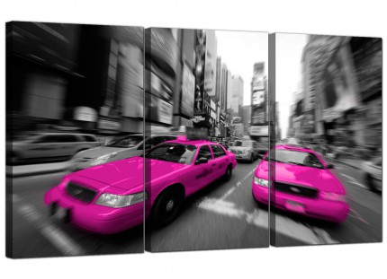Modern Pink Grey Black New York Taxi Cab Cityscape Canvas - 3 Set - 125cm - 3026