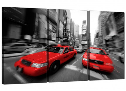 Modern Red Black White Grey New York Taxi City Canvas - 3 of Set - 125cm - 3025