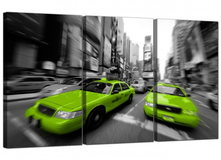 Modern Lime Green Grey New York Taxi Cab Cityscape Canvas - 3 Set - 125cm - 3027