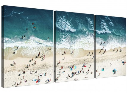 Modern Ocean Beach Themed Scene Gold Coast Beach Canvas - 3 Set - 125cm - 3245