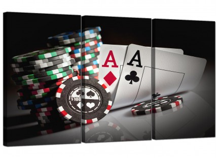 Modern Poker Playing Cards Gambling Aces Canvas - Set of 3 - 125cm - 3048